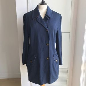 Vintage Navy Cotton Coat wit Anchor Buttons